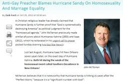 homosexuals cause hurricane sandy