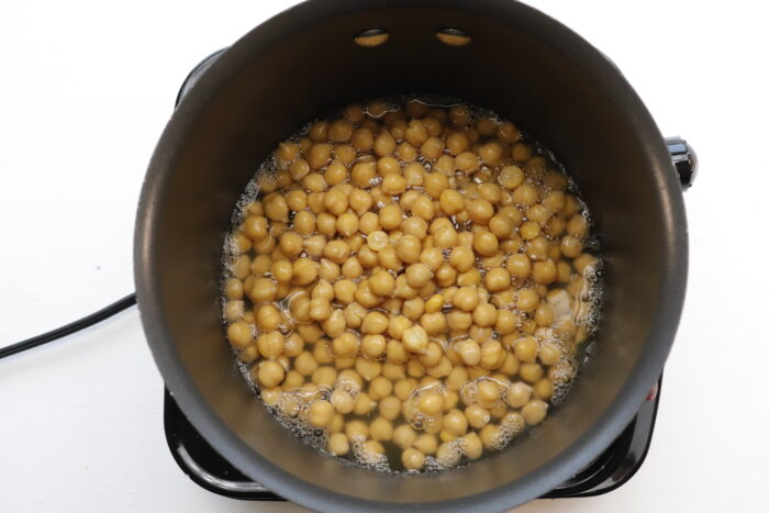 Chickpeas cooking in pot