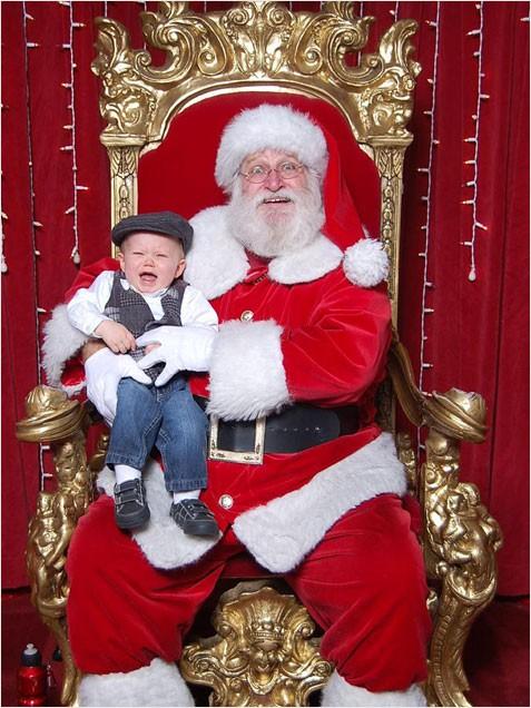 baby crying santa