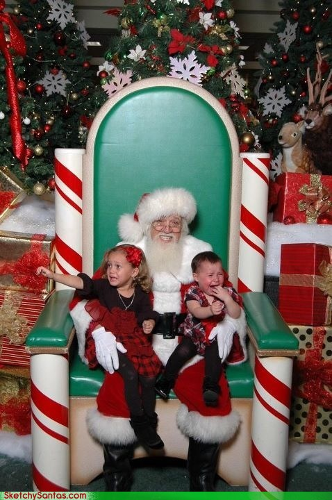 kids crying with santa