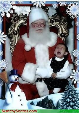 kids crying on santas lap