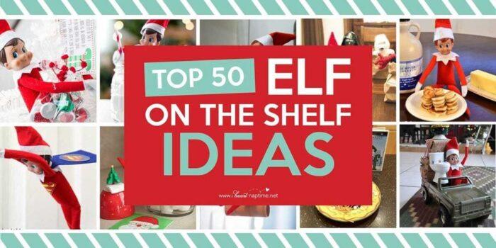 elf on the shelf ideas with text overlay