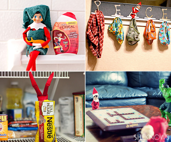 elf on the shelf ideas in 4 different pictures