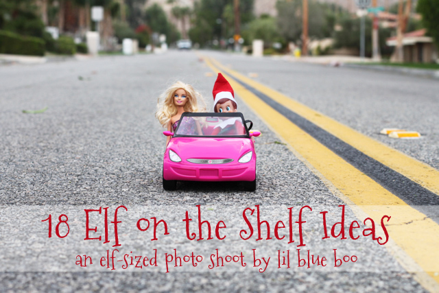 elf on the shelf with barbie in a car