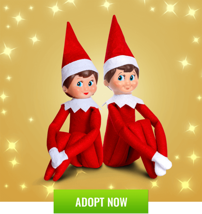 2 elves on the shelf with gold background
