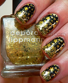 gold and black new years eve nails