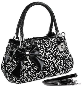 black and white tweed handbag
