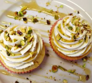 White Chocolate Cupcakes With Honey Pistachio Frosting