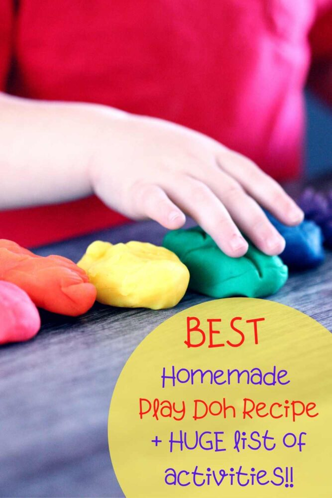 This homemade cooked play doh recipe is SO easy to make and fun to get the kids involved! Don't forget there is a WHOLE list on fun and educational activities to use your play doh with
