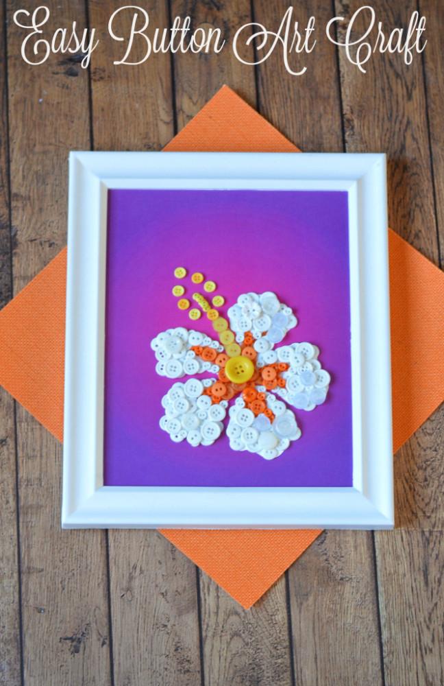 DIY Button Art Flower