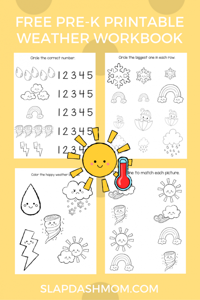picture about Printable Activity Books titled Totally free Preschool Weather conditions Match Reserve Slap Sprint Mother