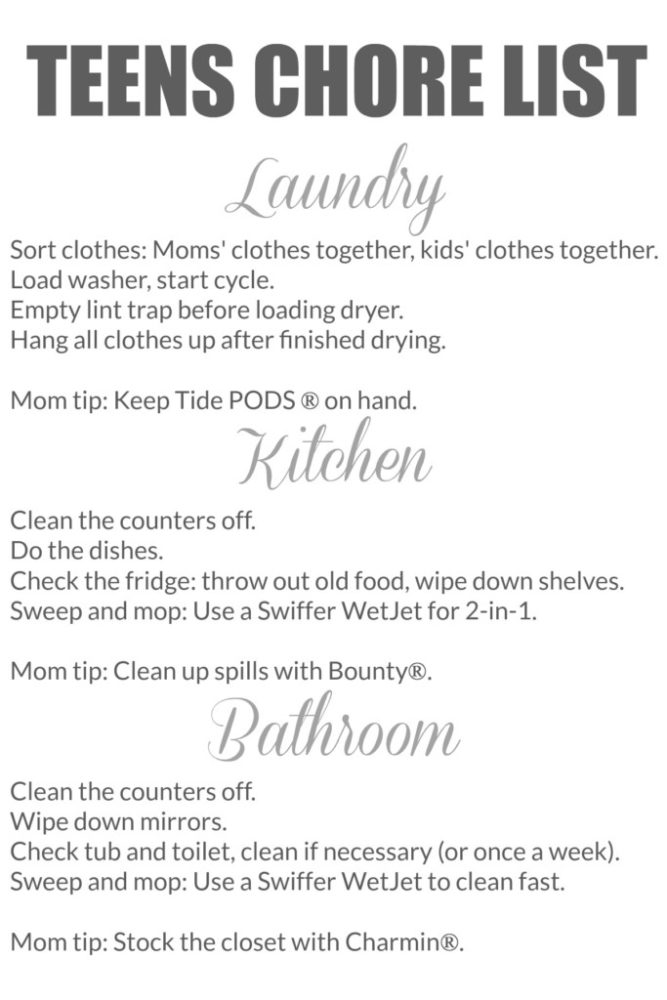 chores for teens