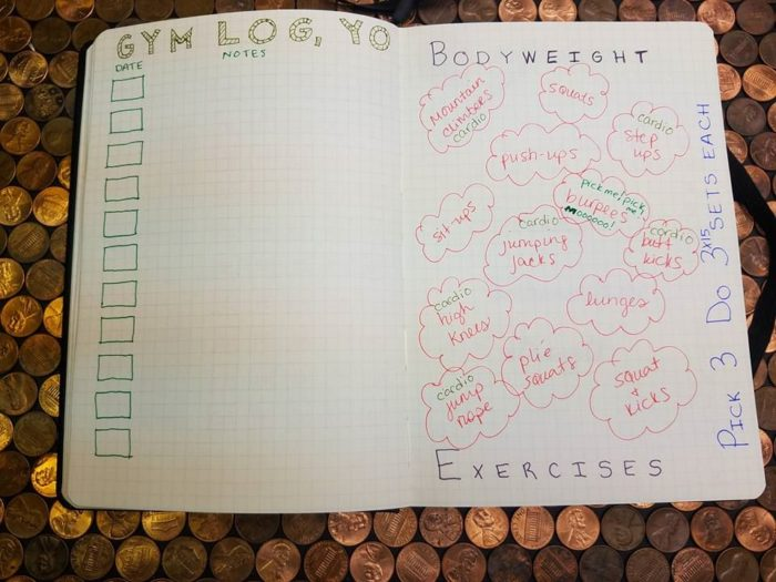 bullet journal for weight loss gym log