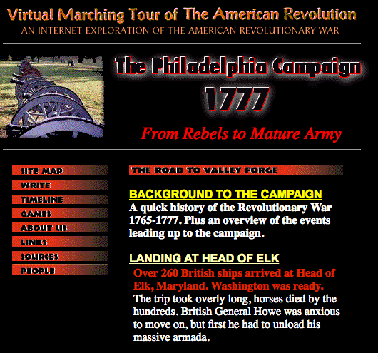 Virtual Marching Tour of the American Revolution
