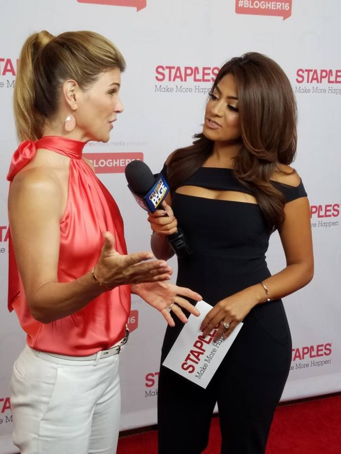 Megan Telles interviewing Lori Loughlin at Staples Live Event BlogHer16