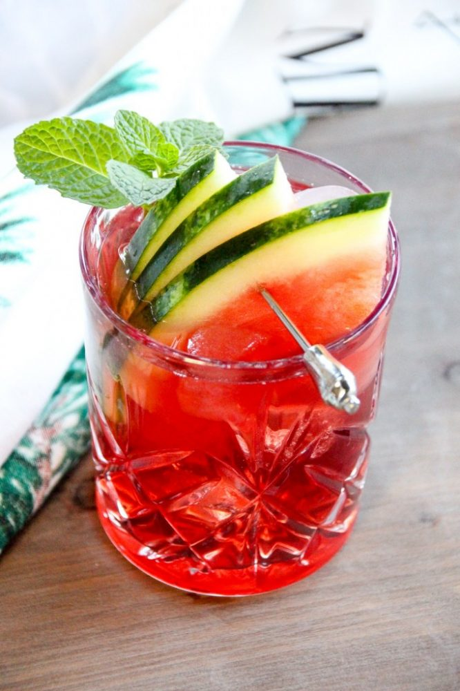 Watermelon Cherry Cider & Mint Mocktail