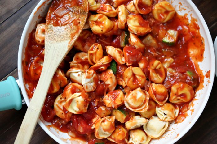 This easy tortellini bake is low fat and kid-friendly