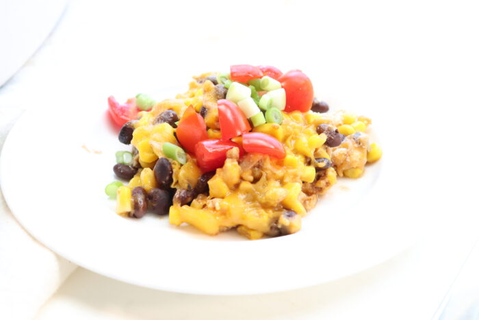 close up of weight watchers taco casserole in a white bowl