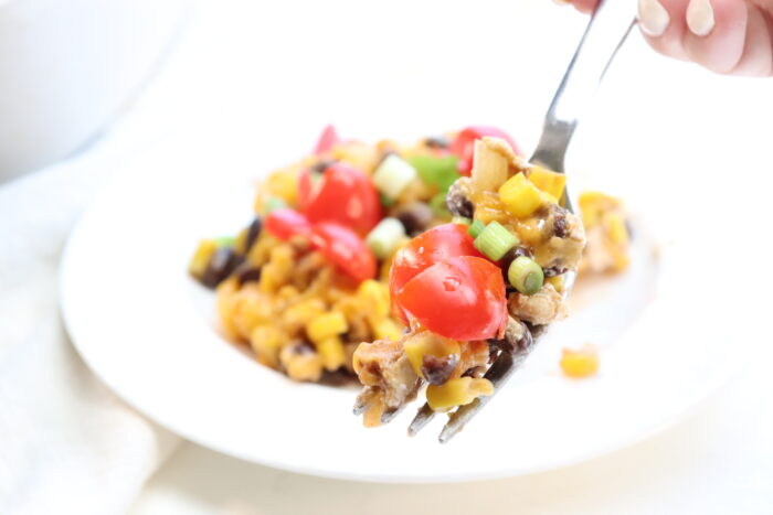 weight watchers taco casserole on a fork