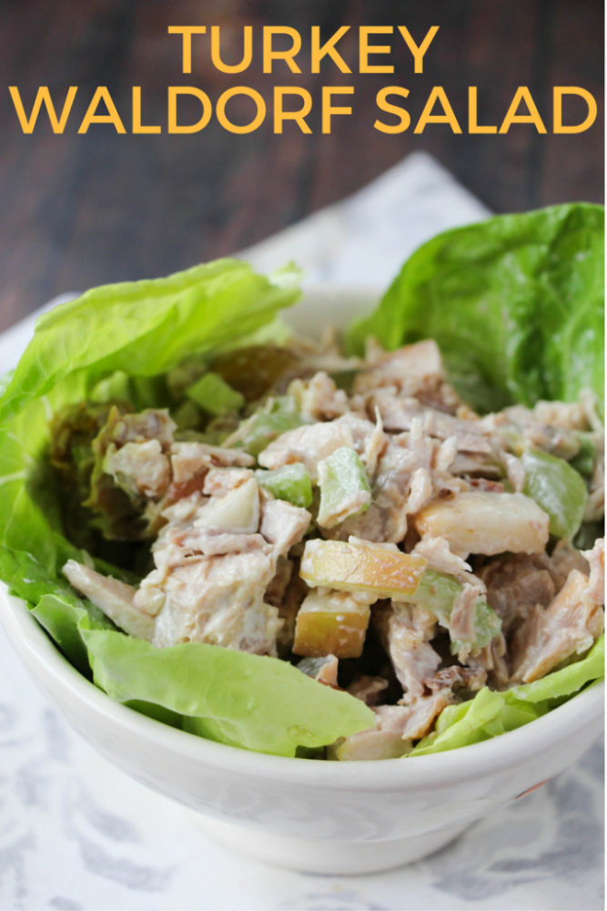 Make this protein packed, filling waldorf salad for lunch. Great to put in a mason jar!