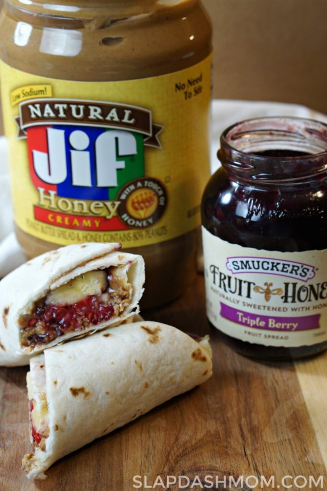 Peanut butter granola roll ups
