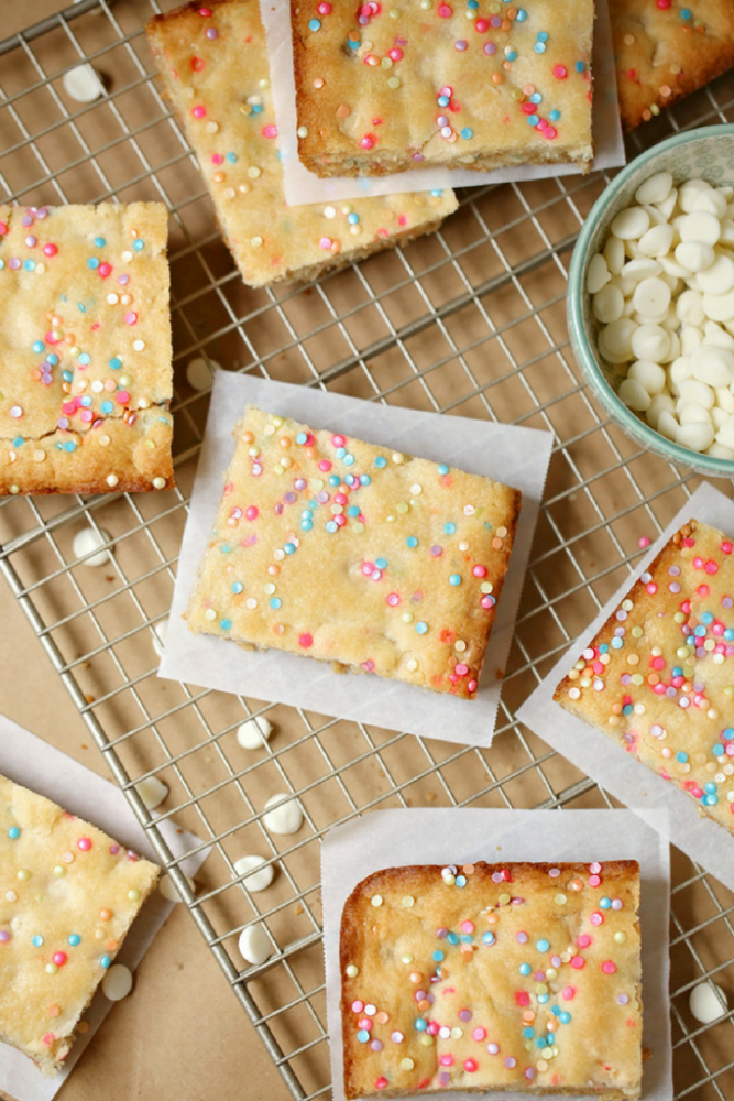 White chocolate cookie bars made with cake mix