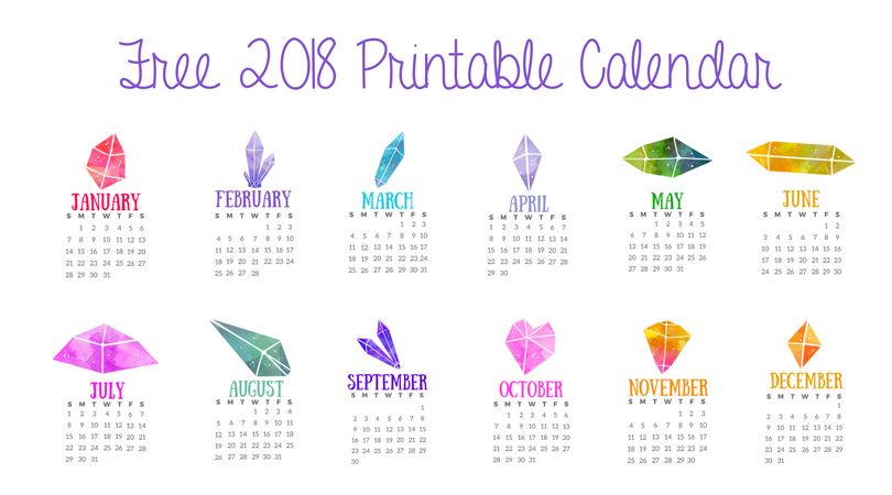Free Printable 2018 Calendar – Crystals for Relaxation