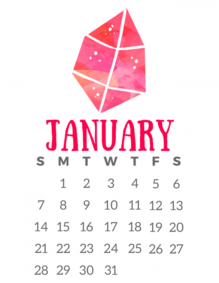 Free Printable 2018 Calendar - Crystals for Relaxation