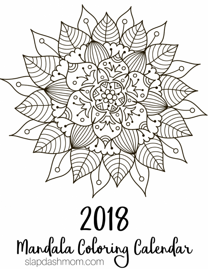 Free Printable 2018 Calendar Mandala Coloring Pages Coloring Pages 2018