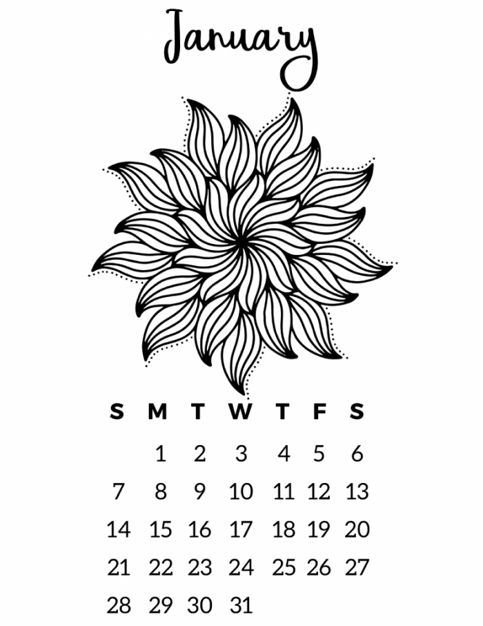 photograph relating to Printable Coloring Calendar named Free of charge Printable 2018 Calendar - Mandala Coloring Webpages Slap