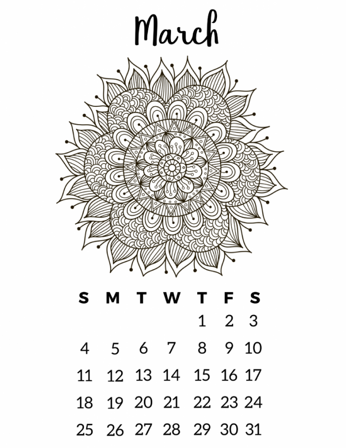 image about Printable Coloring Calendar titled No cost Printable 2018 Calendar - Mandala Coloring Web pages Slap