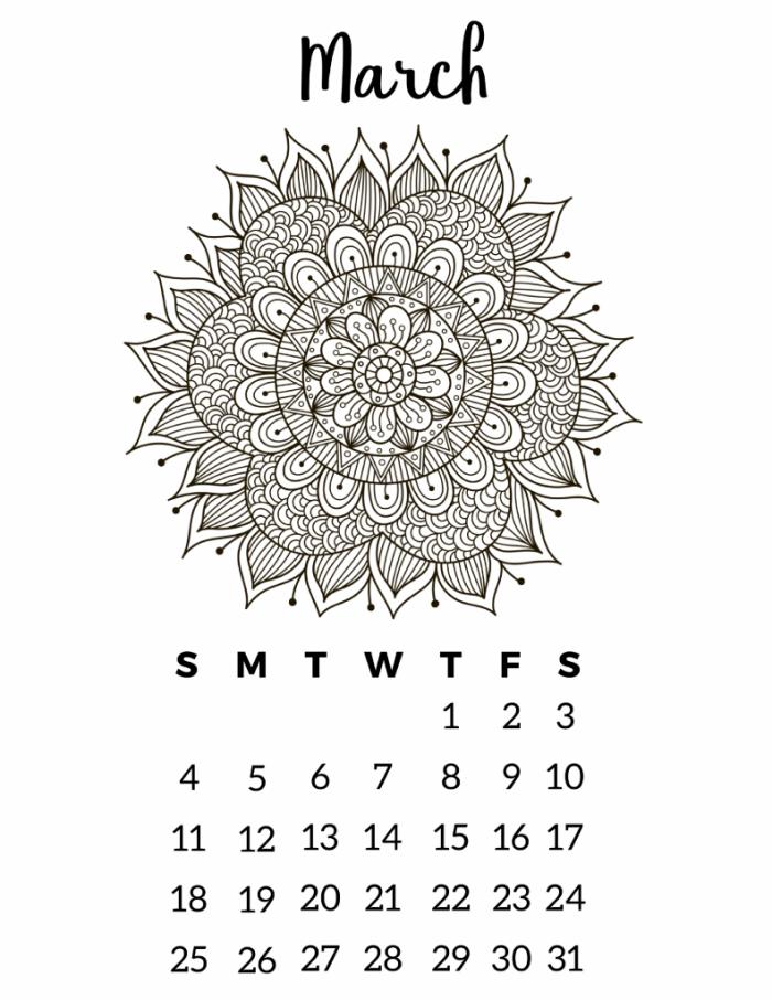Free Printable 2018 Calendar Mandala Coloring