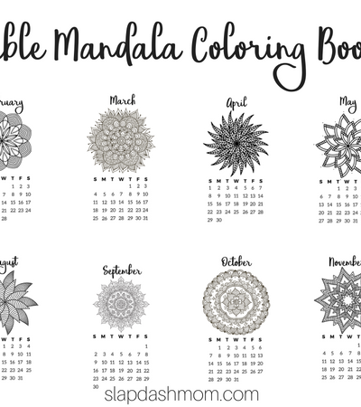 Free Printable 2018 Calendar - Mandala Coloring Pages Slap Dash Mom
