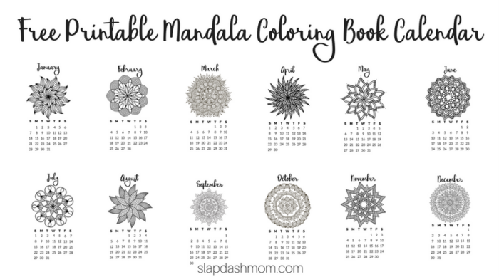 Free Printable 2018 Calendar - Mandala Coloring Pages | Slap ...