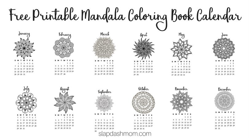 Free Printable 2018 Calendar – Mandala Coloring Pages
