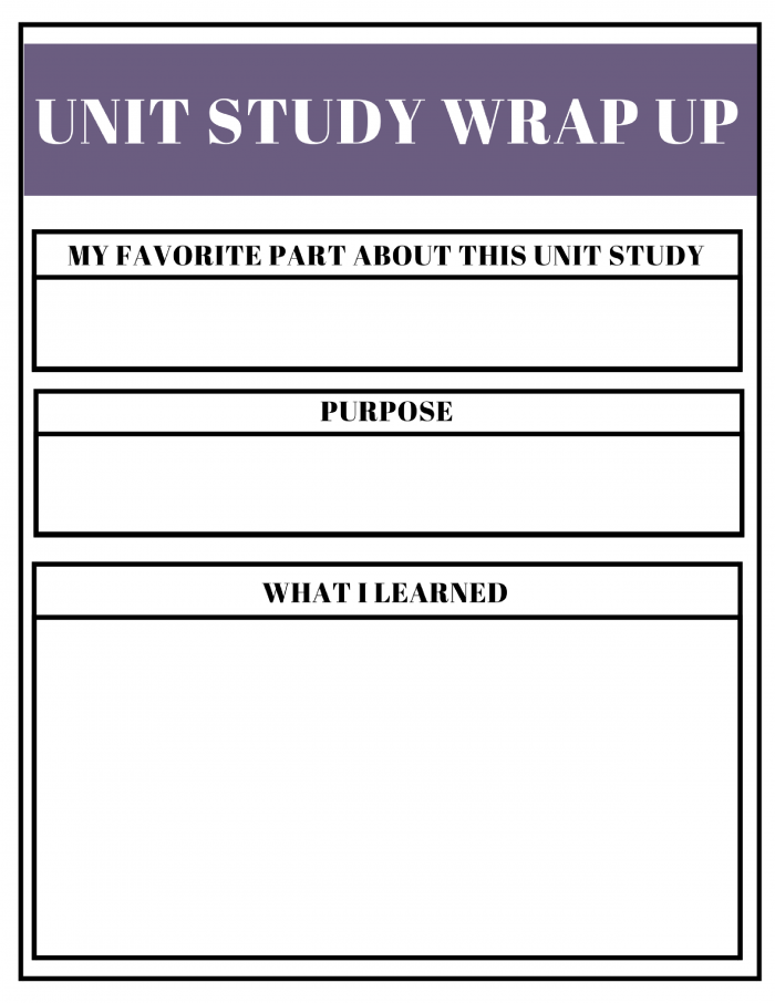 Free Unit Study Planner Wrap Up