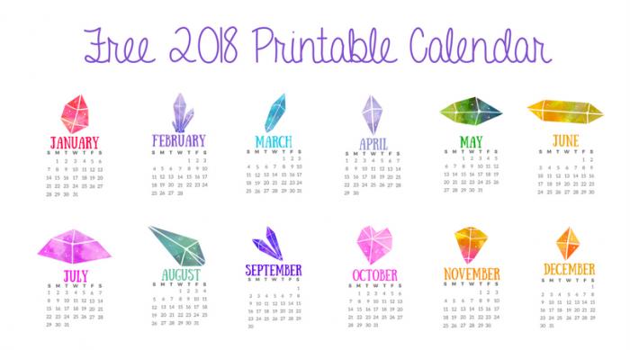 Printable Crystals Calendar