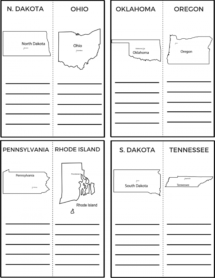 50 States and Capitals Printable Workbook