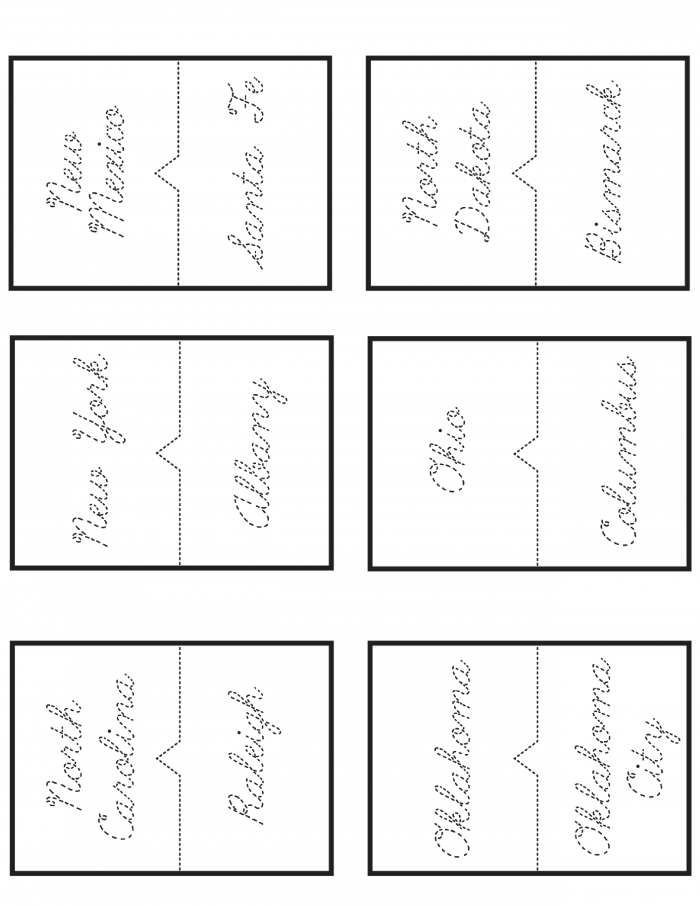 photo about States and Capitals Flash Cards Printable titled Totally free 50 Says and Capitals Printable Workbook Slap Sprint Mother