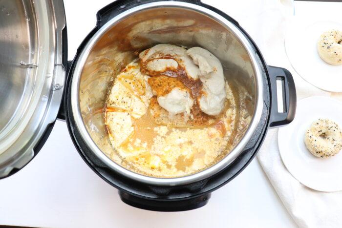 Top view weight watchers crack chicken in instant pot