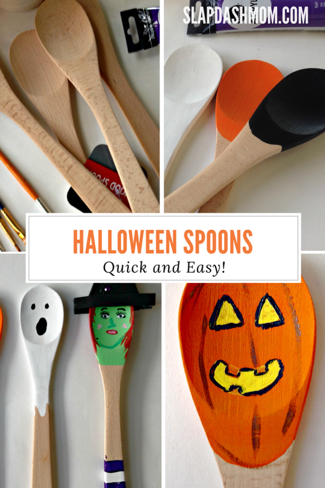 Halloween Craft: Decorated Wooden Spoons