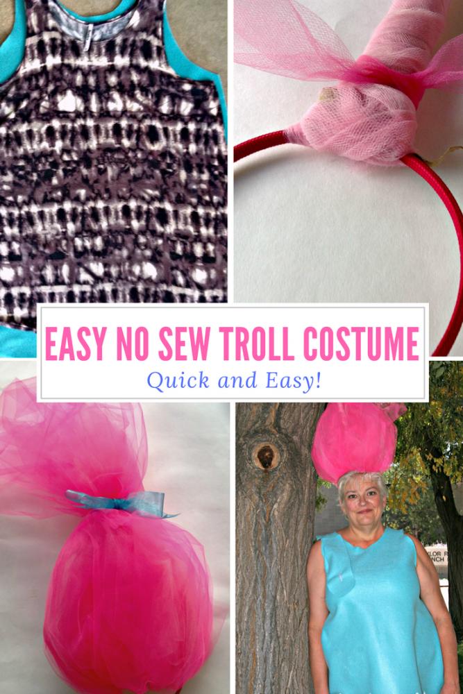 Easy No Sew Treasure Troll Halloween Costume