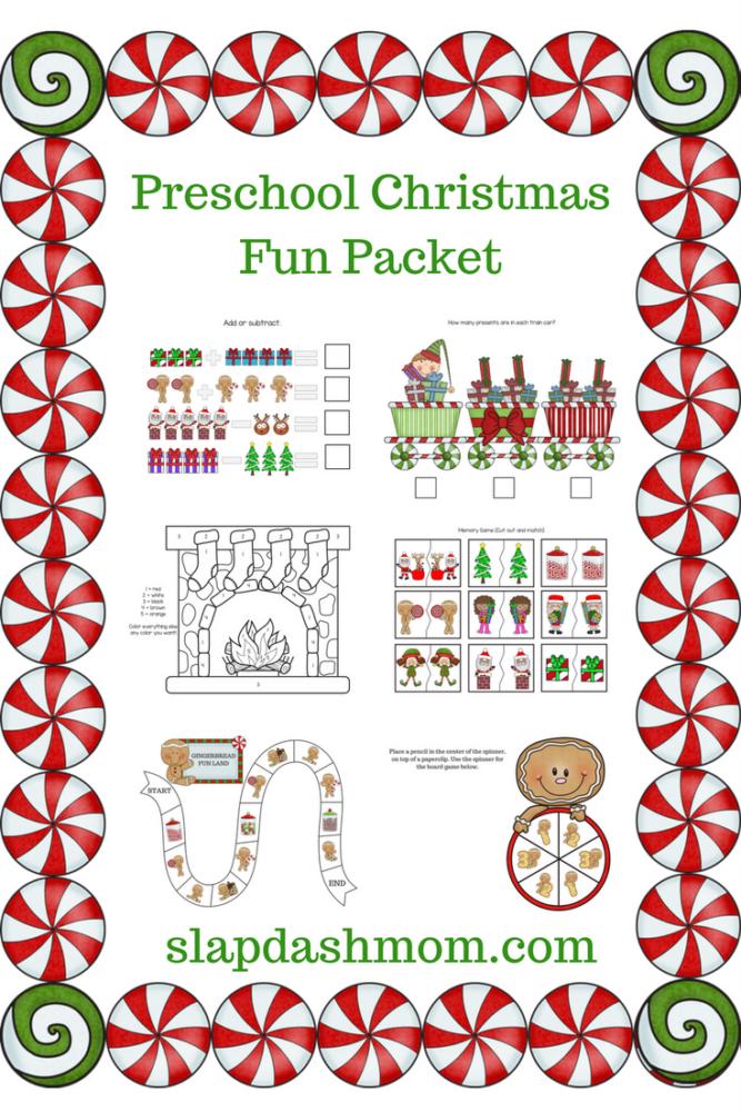 Christmas Preschool Printable Packet | Slap Dash Mom