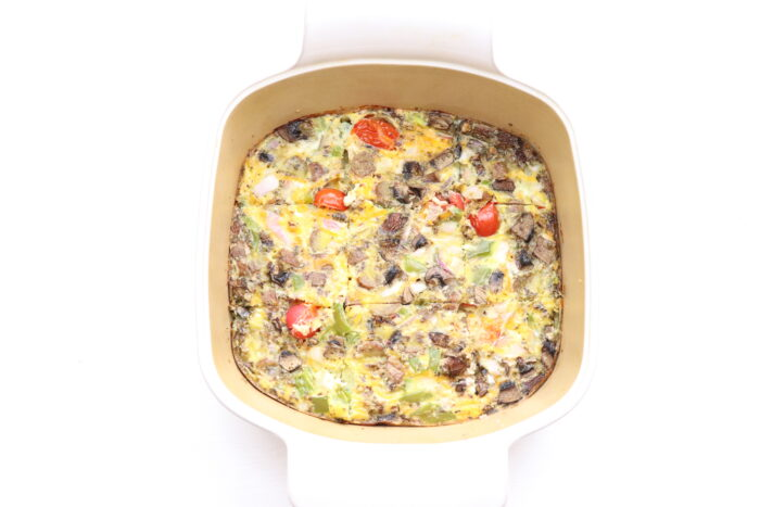 Breakfast casserole after it has been baked in dish