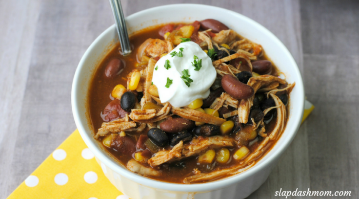 instant pot chicken taco soup in a white bowl