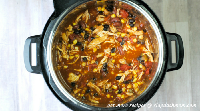 instant pot chicken taco soup top view still in the pot