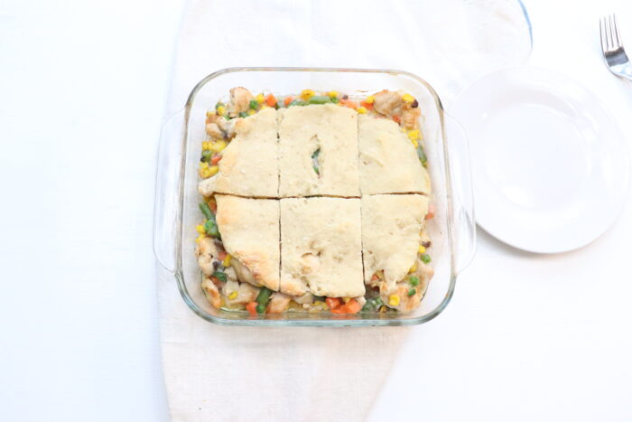weight watchers chicken pot pie in casserole dish