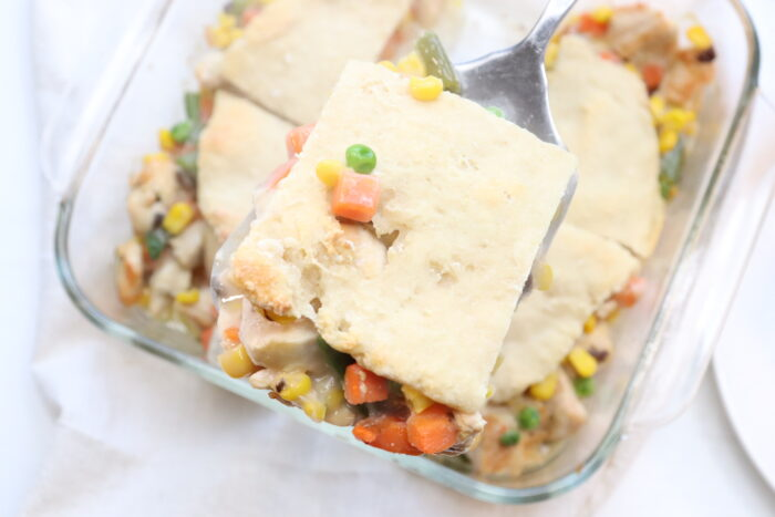 close up of finished weight watchers chicken pot pie