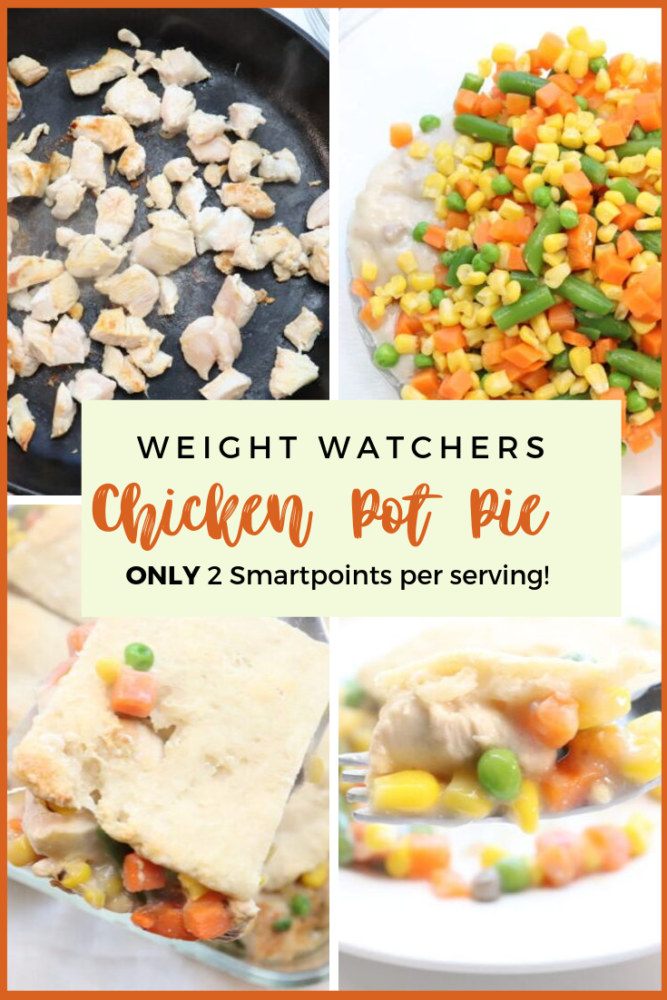 Weight Watchers Chicken Pot Pie spells comfort food! With using the 2 ingredient dough, this delicious hearty meal is only 2 SMARTPOINTS! Full of protein and veggies, this will quickly become a family favorite! #ww #weightwatchers #chickenpotpie #2ingredientdough #comfortfood