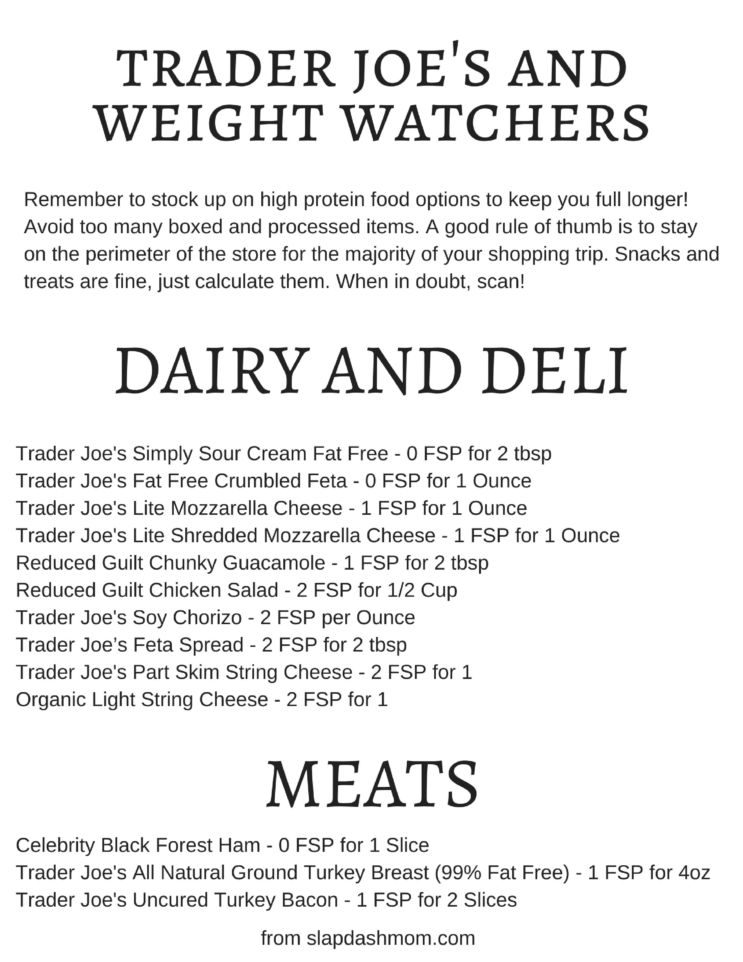 Weight Watchers Trader Joes Shopping List